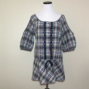 Free People Plaid Embroidered Open Shoulder Tunic